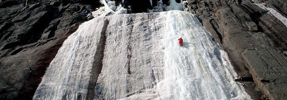Ice Climbing on long wall